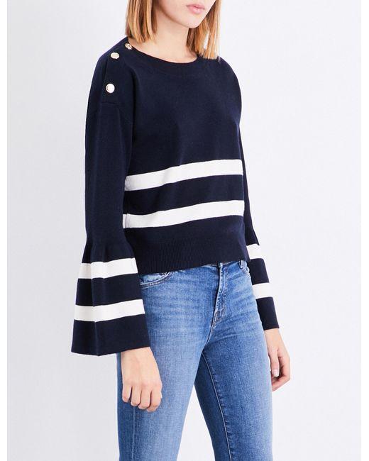 Claudie Pierlot | Blue Striped Cotton And Wool-blend Jumper | Lyst