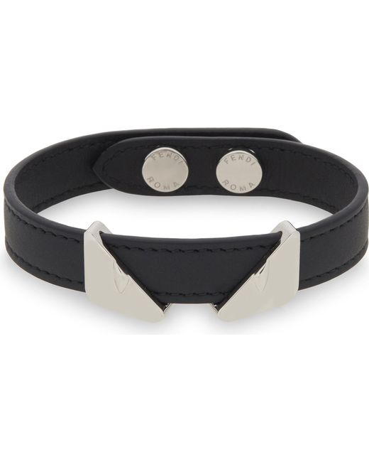 Fendi | Black Monster Eyes Leather Bracelet | Lyst