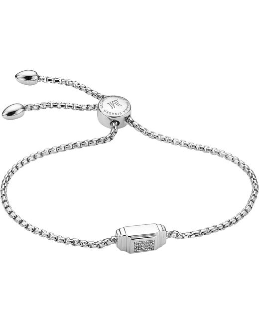 Monica Vinader - Metallic Baja Deco Sterling Silver And Diamond Bracelet - Lyst