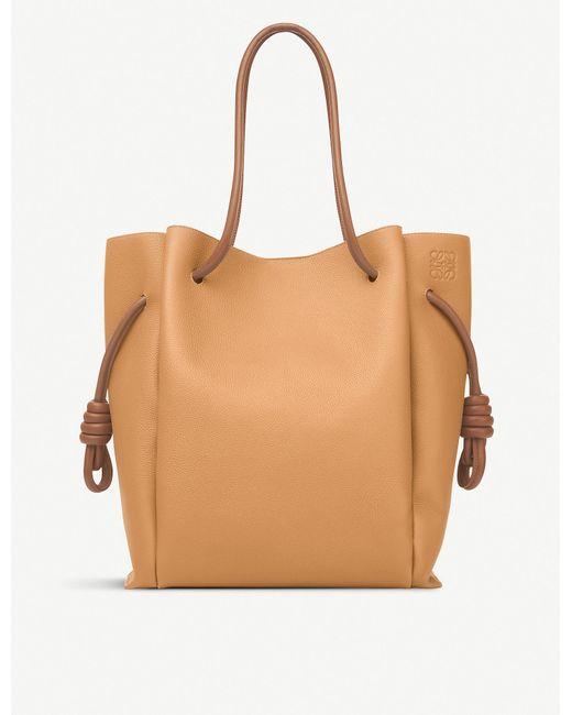 Loewe - Light Caramel And Tan Brown Flamenco Knot Leather Shoulder Bag - Lyst