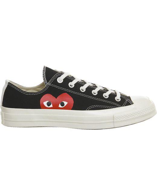 Play Comme des Garçons - Black Large Emblem Low Top Canvas Sneakers for Men - Lyst