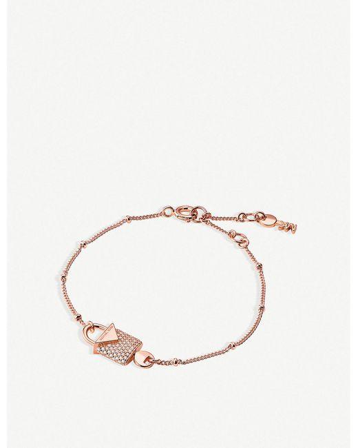 Michael Kors - Metallic Kors Candy Gold-plated Silver Padlock Bracelet - Lyst