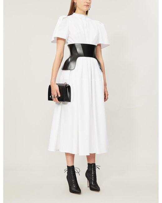 Alexander McQueen White Short-sleeved Cotton Midi Dress
