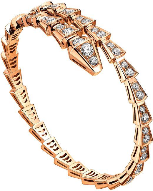 BVLGARI - Metallic Serpenti 18kt Rose-gold And Diamond Pave Bracelet - Lyst