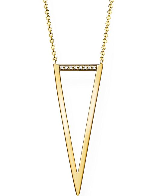 Thomas Sabo - Metallic Triangle 18ct Yellow Gold-plated Diamond Necklace - Lyst