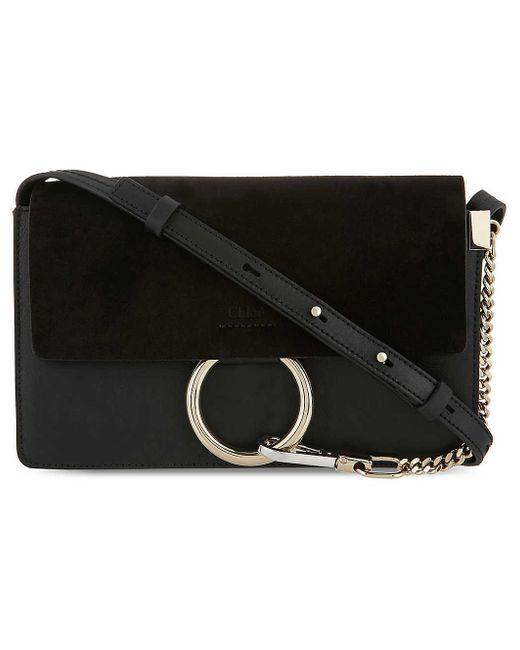 Chloé Black 'small Faye' Leather Shoulder Bag - Metallic