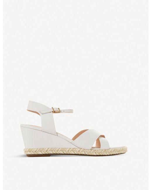 Dune White Kiwii Leather Espadrille Sandals