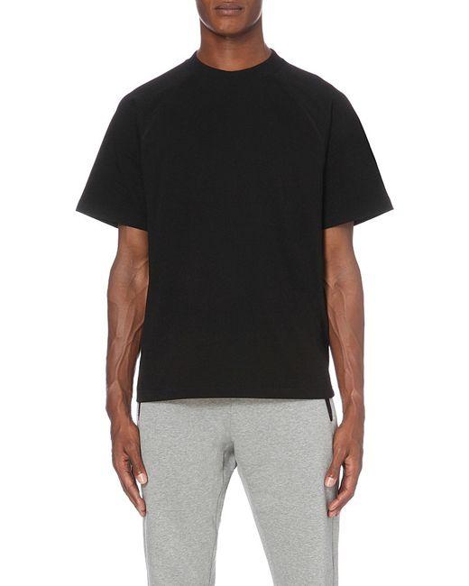 Moncler x off white striped cotton jersey t shirt in black for Off white moncler t shirt
