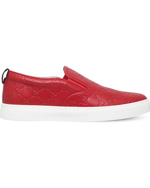Gucci Dublin Signature Leather Slip-on Trainer in Red for ... - photo #43