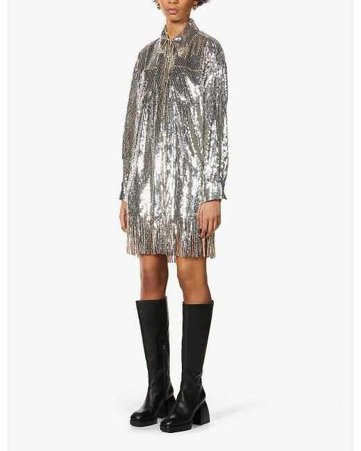 Pinko Metallic Pastasfoglia Relaxed-fit Sequin Shirt