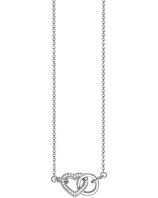 Thomas Sabo Metallic Together Heart Small Sterling Silver And Crystal Necklace