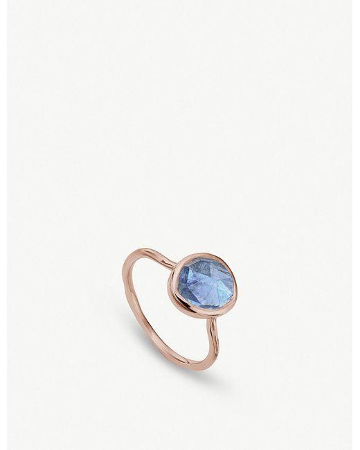 Monica Vinader - Blue Siren Kyanite-gemstone 18ct Rose-gold And Silver Ring - Lyst