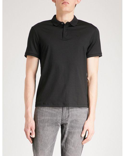 Emporio Armani - Black Logo-embroidered Cotton Polo Shirt for Men - Lyst