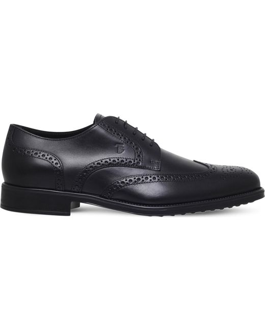 Tod's - Black Leather Lace-up Shoes for Men - Lyst