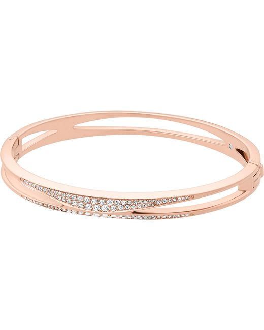 Michael Kors - Metallic Cubic Zirconia And Stainless Steel Rose Gold-toned Bangle - Lyst