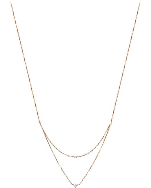 The Alkemistry - Metallic Diamond Heart 14ct Rose-gold Two-row Necklace - Lyst