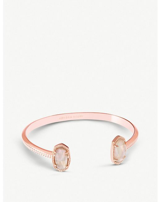 Kendra Scott - Multicolor Elton 14ct Rose Gold-plated And Brown Mother-of-pearl Cuff Bracelet - Lyst