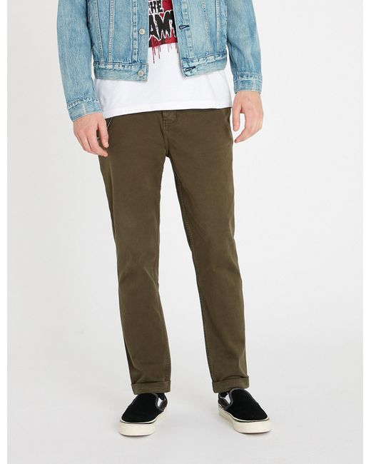 The Kooples - Green Chain-detail Slim-fit Cotton Skinny Trousers for Men - Lyst