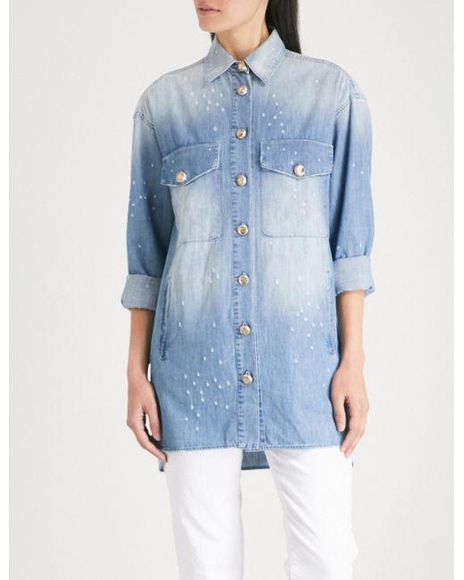 The Kooples - Blue Distressed Denim Shirt - Lyst