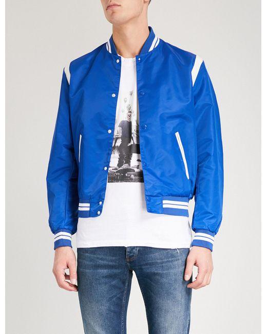 The Kooples - Blue Leather-trimmed Shell Bomber Jacket for Men - Lyst
