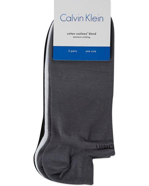 Calvin Klein Black Pack Of Three Cotton-blend Ankle Socks for men