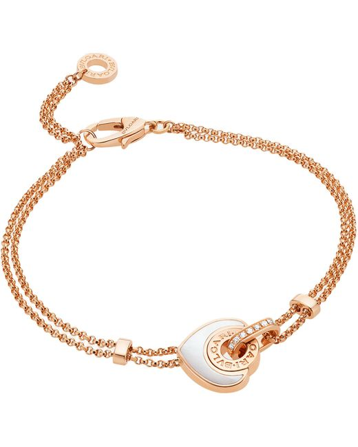 BVLGARI - - Cuore 18ct Pink-gold And Mother-of-pearl Bracelet - Lyst