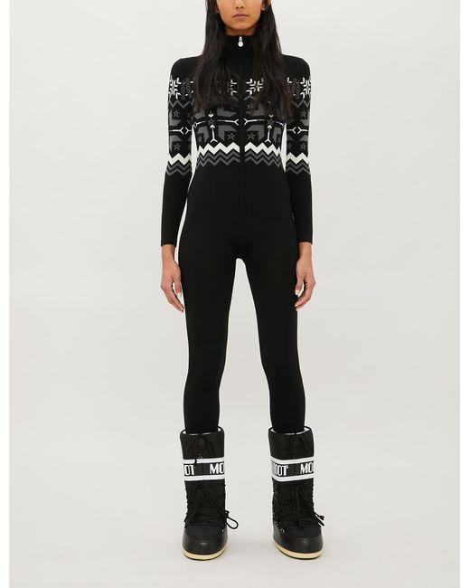 Perfect Moment Black High-neck Fairisle-pattern Knitted Ski Suit