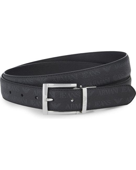 Armani Jeans | Black Grained Leather Reversible Belt for Men | Lyst