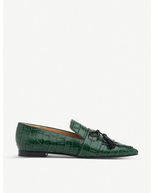 L.K.Bennett Green Celina Croc-embossed Patent-leather Flats