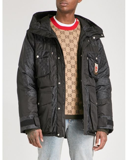 Gucci | Black Logo-jacquard Quilted Feather And Down-blend Jacket for Men | Lyst