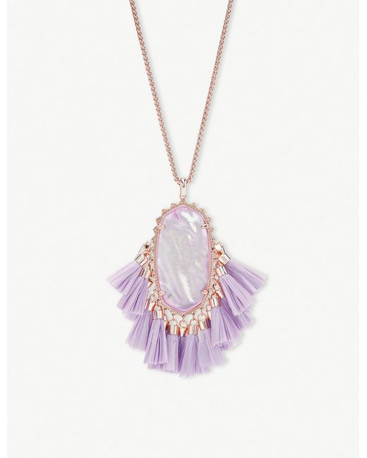Kendra Scott - Multicolor Betsy 14ct Rose Gold-plated Lilac Mother Of Pearl Tassel Necklace - Lyst