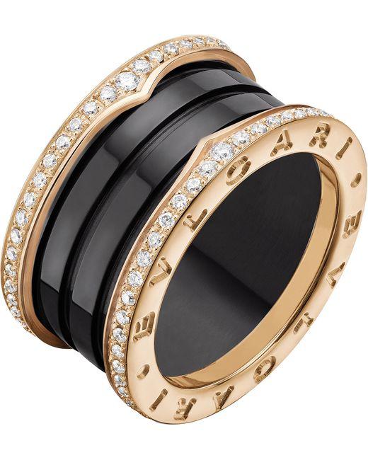 BVLGARI - B.zero1 Four-band 18kt Pink-gold Black Ceramic And Diamond Ring - Lyst