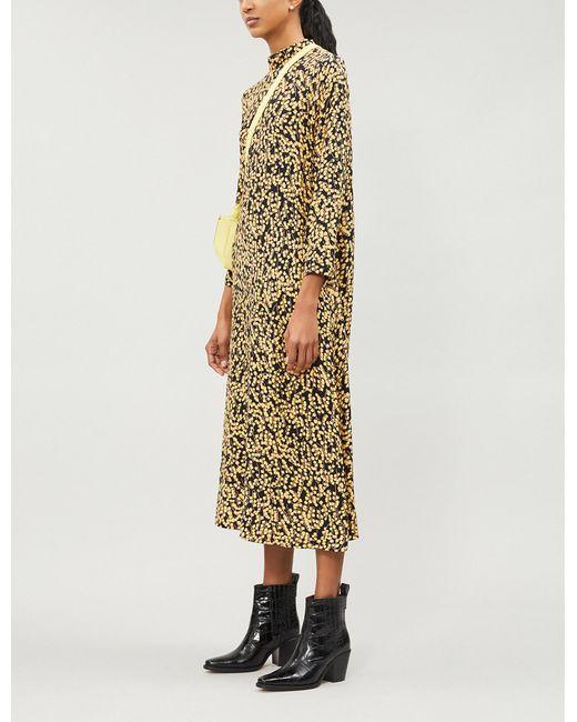 f21902330ad4 Lyst - Ganni Goldstone Floral-print Crepe Dress in Black
