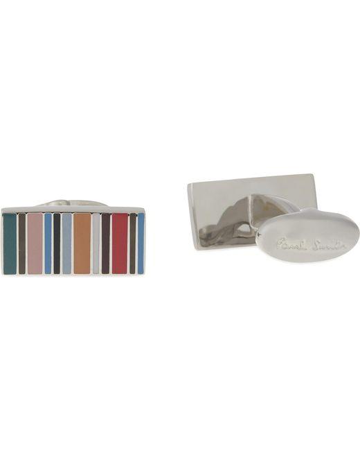 Paul Smith - White Multi-stripe Rectangle Cufflinks for Men - Lyst
