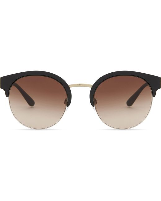 Burberry - Black Be4241 Check-detail Round Half-frame Sunglasses - Lyst