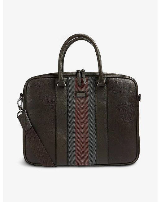 Ted Baker Black Cherade Striped-trim Leather Briefcase