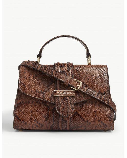 MICHAEL Michael Kors Brown Bleecker Snake-embossed Leather Shoulder Bag