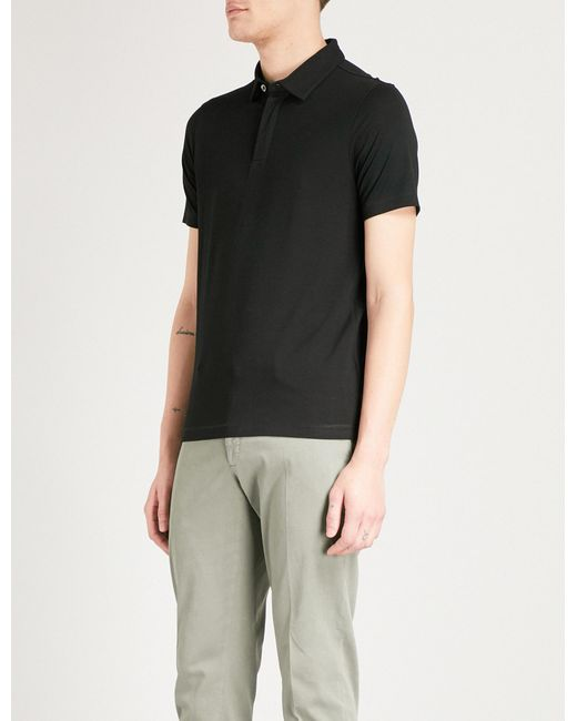 Emporio Armani - Black Logo-embroidered Stretch-jersey Polo Shirt for Men - Lyst