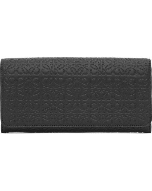 Loewe - Black Logo-embossed Leather Continental Wallet - Lyst