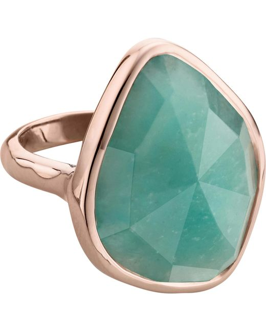 Monica Vinader Black Siren 18ct Rose Gold Vermeil And Amazonite nugget Cocktail Ring