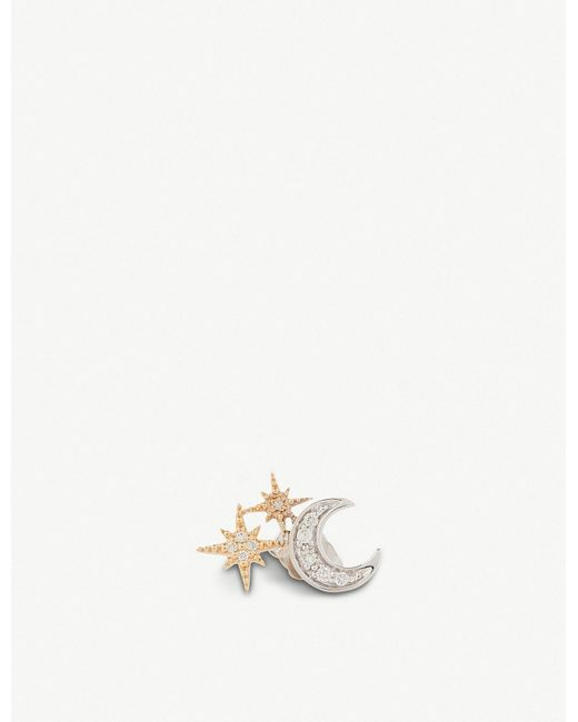 The Alkemistry - Metallic Sydney Evan 14ct Yellow-gold And Diamond Star Moon Single Earring (right) - Lyst