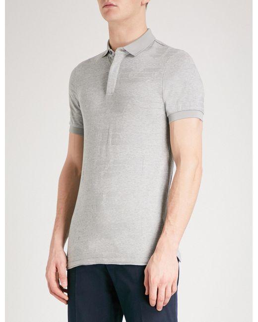 Emporio Armani   Gray Intarsia Knitted Polo Shirt for Men   Lyst