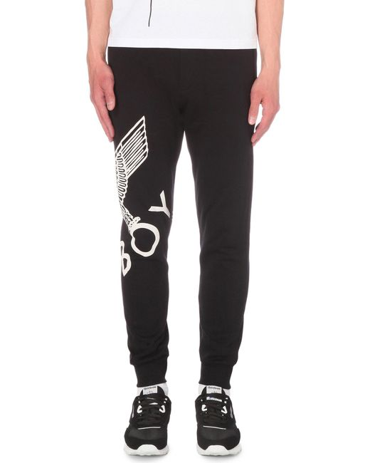 BOY London - Black Eagle Print Cotton-jersey jogging Bottoms for Men - Lyst
