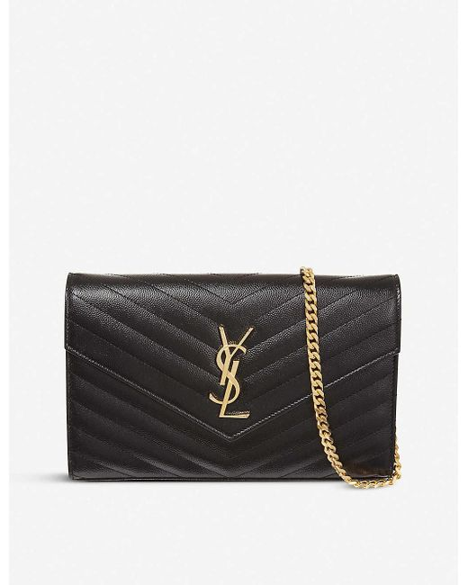 Saint Laurent Brown Monogram Envelope Quilted Leather Cross-Body Bag