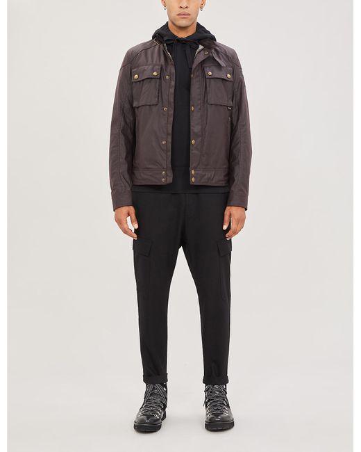 Belstaff Gray Racemaster Funnel-neck Waxed-cotton Jacket for men