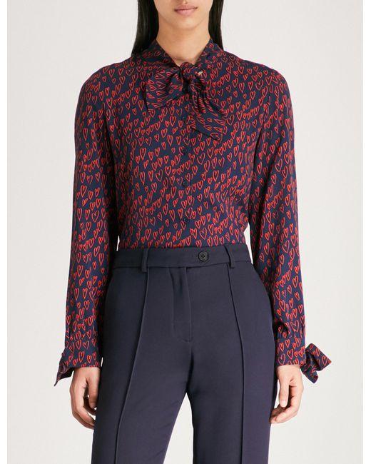 Claudie Pierlot - Blue Heat-print Crepe Shirt - Lyst