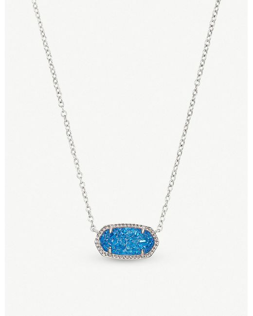 Kendra Scott - Blue Elisa Rhodium-plated And Cobalt Drusy Pendant Necklace - Lyst