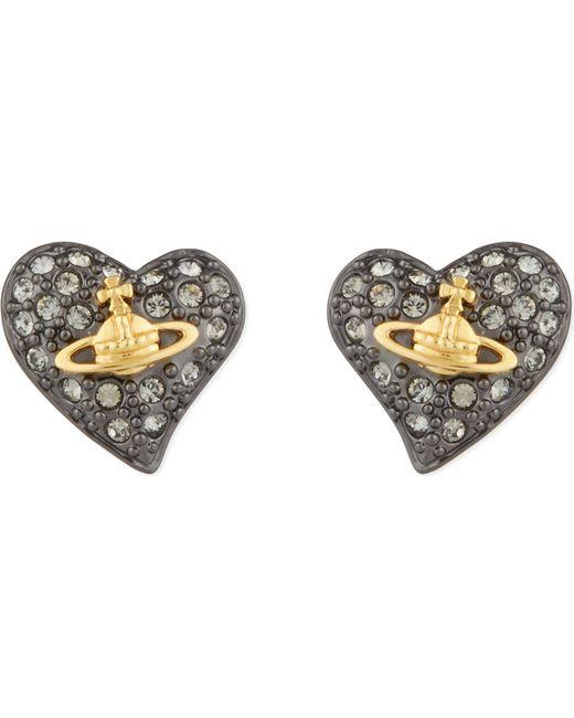Vivienne Westwood - Metallic Tiny Diamanté Heart Studs - Lyst