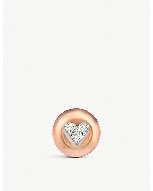 The Alkemistry - Metallic Diamond Heart 14ct Rose-gold Earrings - Lyst