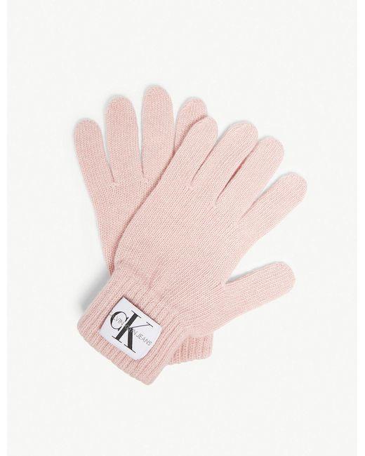 Calvin Klein - Pink Logo Knitted Wool-blend Gloves - Lyst